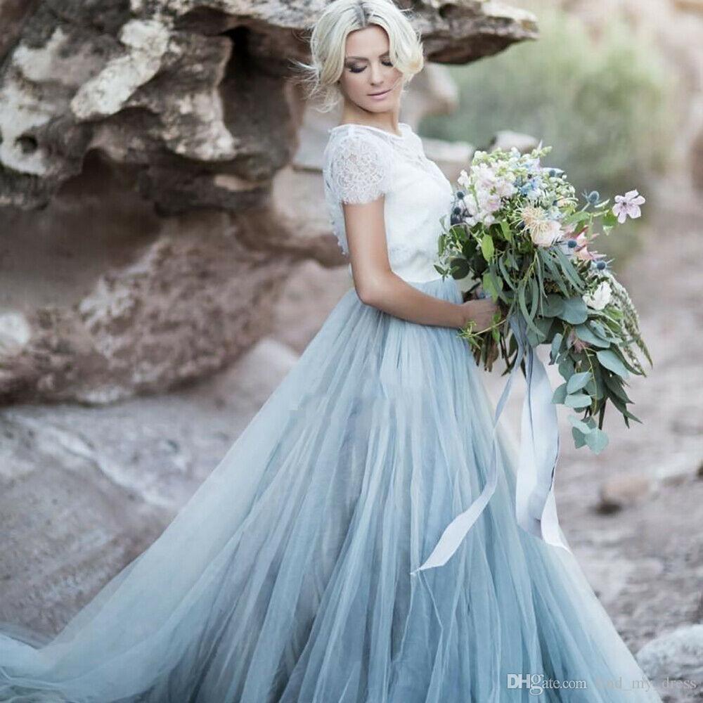 2019 luz céu azul plissado tule manga curta colorido vestidos de casamento do laço nova a linha princesa vestidos de noiva apliques modern praia boho