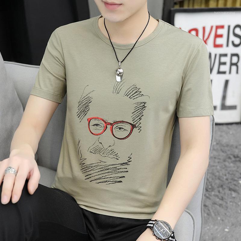 Kollu Erkek T Shirt Moda Karakter Baskılı Katı Renk İç Yaz Yeni Nedensel Erkek Giyim Kısa