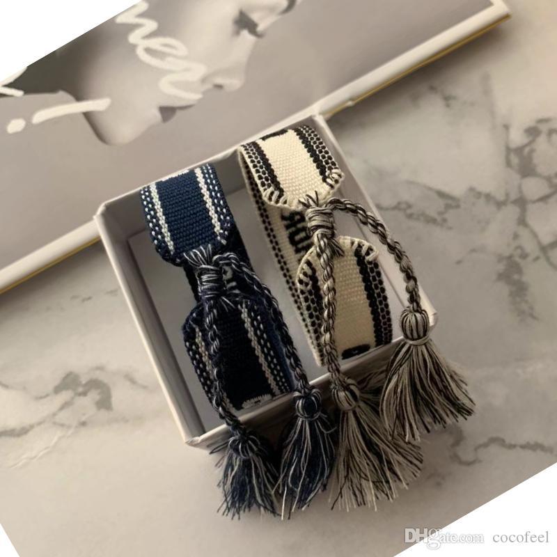 2020 Регулируемый фам D бренд хлопчатобумажная Браслеты Lovers Браслет Вышивка кисточкой для женщин мужчины Rope Braceletbangle дружба ювелирные изделия