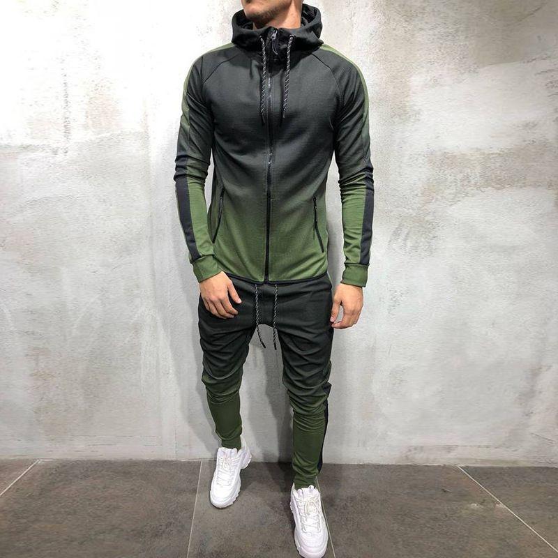 Мода мужской спортивный костюм осень и зима новый 3d свитер цифровая печать Спорт фитнес бег с капюшоном пот-абсорбент повседневный костюм-2