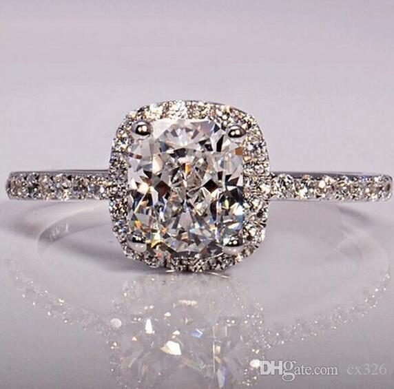 Anelli in argento sterling CC 925 per donne da sposa Anelli Trendy Jewellery Engagement Anelli color oro bianco Mujer CC595