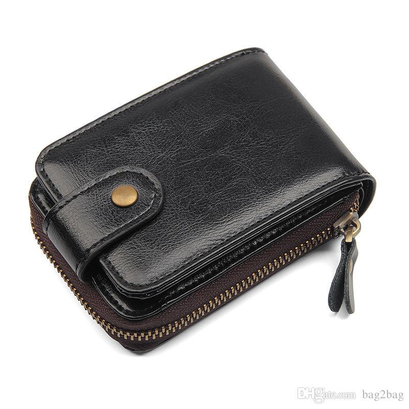Uomini Vera Pelle Comm Borse Vintage breve portafoglio Holder Donne Pocket Coin Purse Nero Blu Zipper borsa della moneta di RFID carta di credito per gli uomini