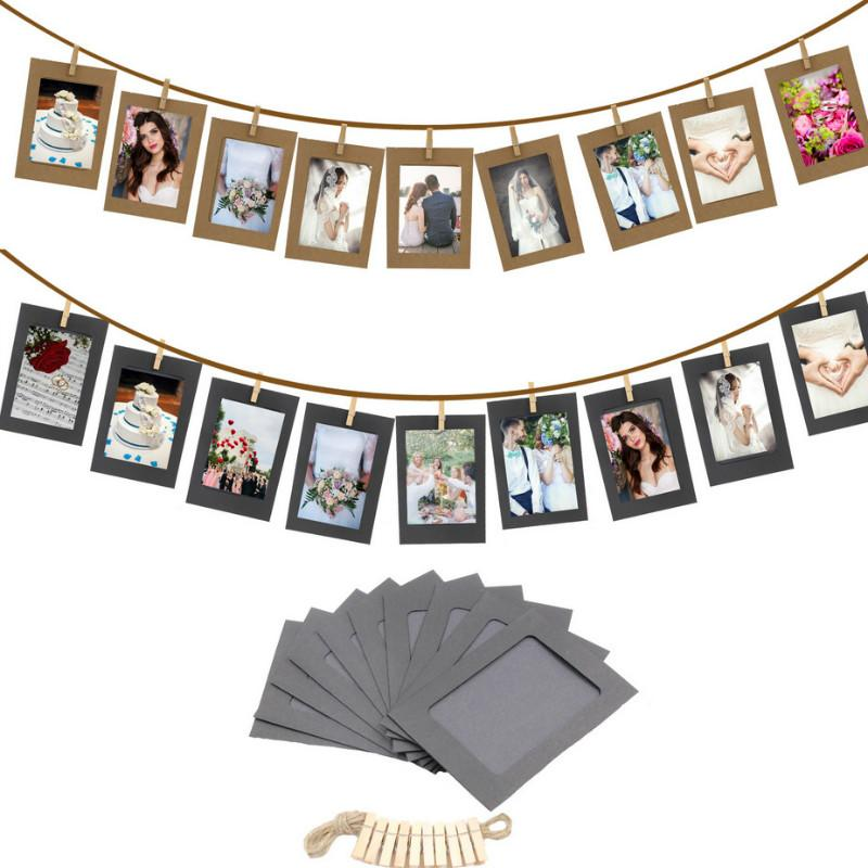 10Pcs DIY Kraft Paper Photo Frame 3/5/6 inch Hanging Wall Photos Picture Frame Kraft Paper With Clips and Rope For Family Memory