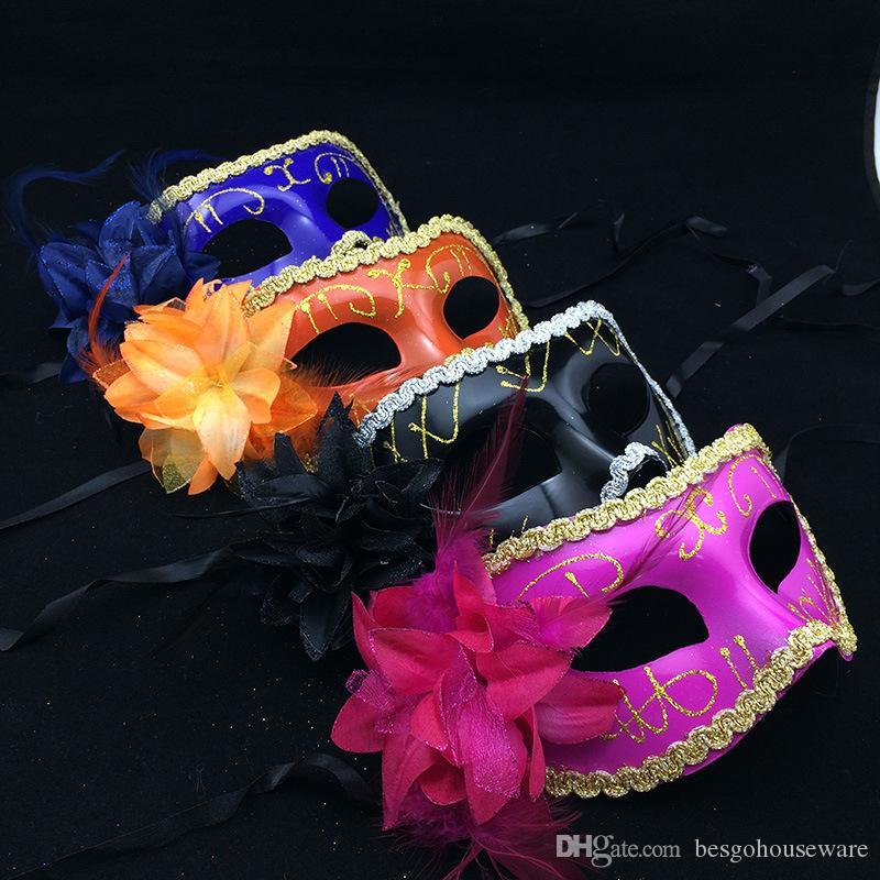 Хэллоуин Косплей Маски перо Блестки Венецианский мужской партии Свадьба блестками Masquerade Венецианские маски карнавал Рождественские подарки BH2056 CY