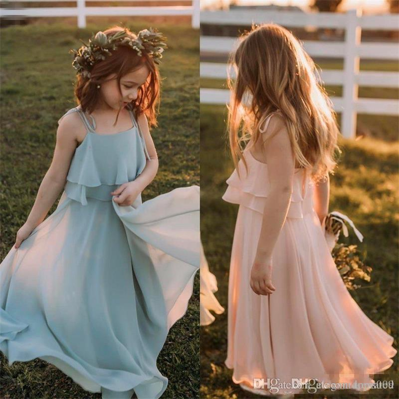 2019 robes de fille de fleur de plage élégantes une ligne longueur de plancher de spaghetti filles en mousseline de soie robes de reconstitution historique pour les robes de communion de mariage
