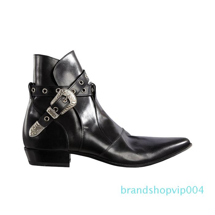 Hot Sale-Buckle Chains Biker Boots Soft leather Mens Western Big Size 46 Cowboy Booties Shoes