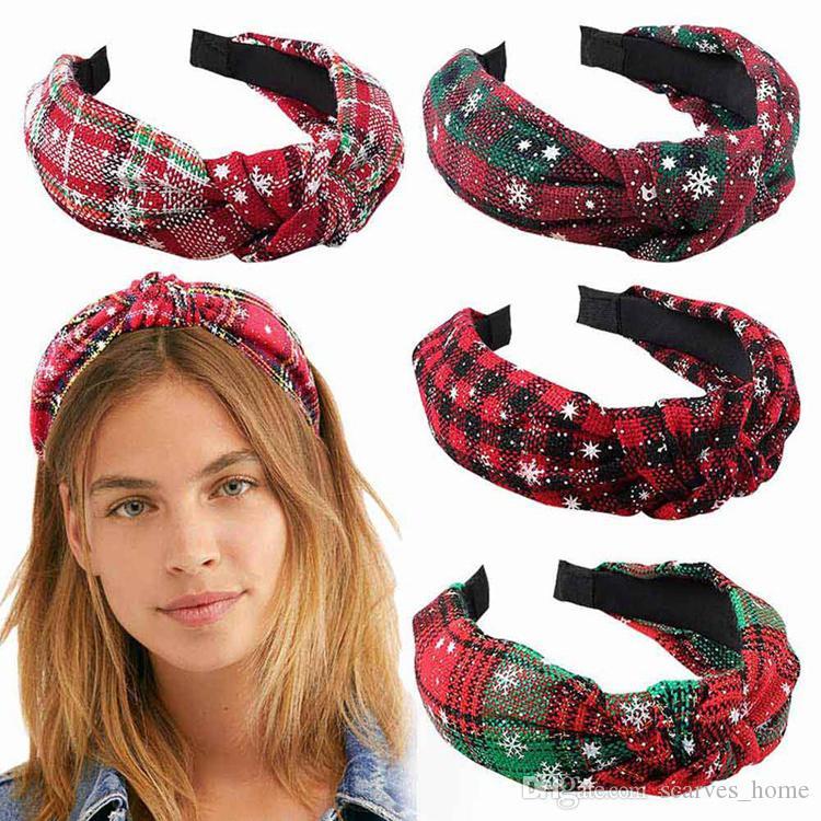 Mode féminine Noël imprimé tête Hoop Noeud Doux Filles Bandeau Cheveux Hoop Chapeaux Accessoires de cheveux