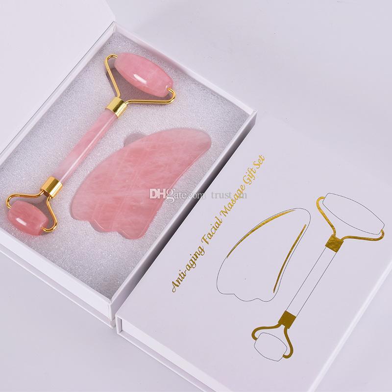 Rose Quartz Rolo Rosto Massager elevação Ferramenta Natural Jade Massagem Facial pedra rolo Pele Massagem Beauty Care Set Box