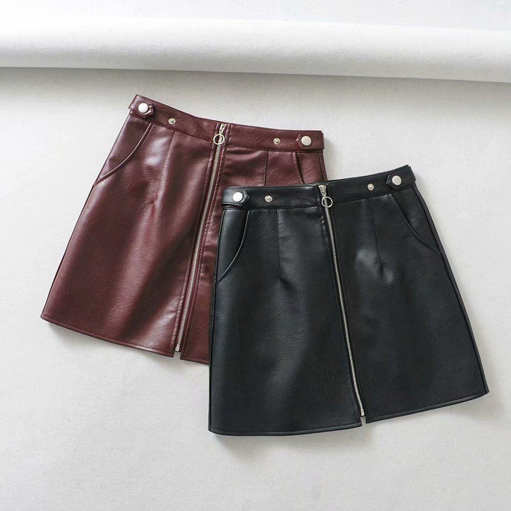 2019 europäischen und amerikanischen Stil Herbst und Winter Frauen neue Großhandel hohe Taille Tasche Reißverschluss PU-Leder hohe Qualität Rock