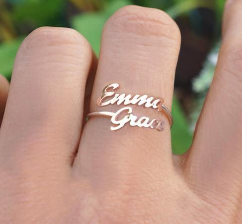 새로운 엄마 선물 어머니 딸 가족 반지를 두 번 정의 두 이름 반지 맞춤 아기 이름 커플 이름