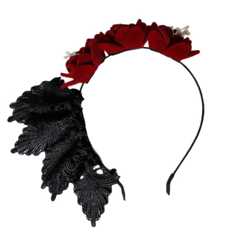 المرأة العصابة القوطية وردة حمراء الشعر الرباط هوب حزب مثير الزهور مع ملحقاتها