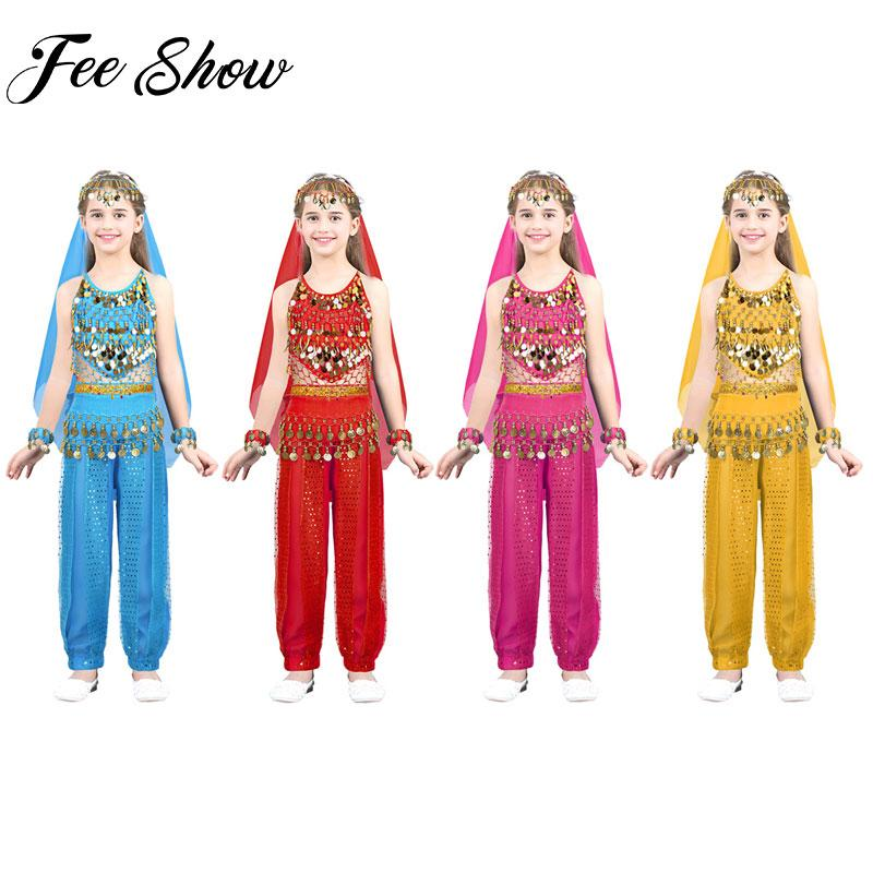 Hose Armband 5 Teiliges Set Outfits Indien Belly Dance Kleidung Top Kopfabedeckung Agoky Kinder M/ädchen Bauchtanz Kost/üme Set