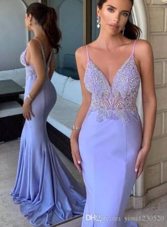 Lavanda sirena vestidos de baile 2020 barrido espaguetis ocasión Party Train árabe Mayor rebordear Vestidos Especial formal largo del vestido de noche
