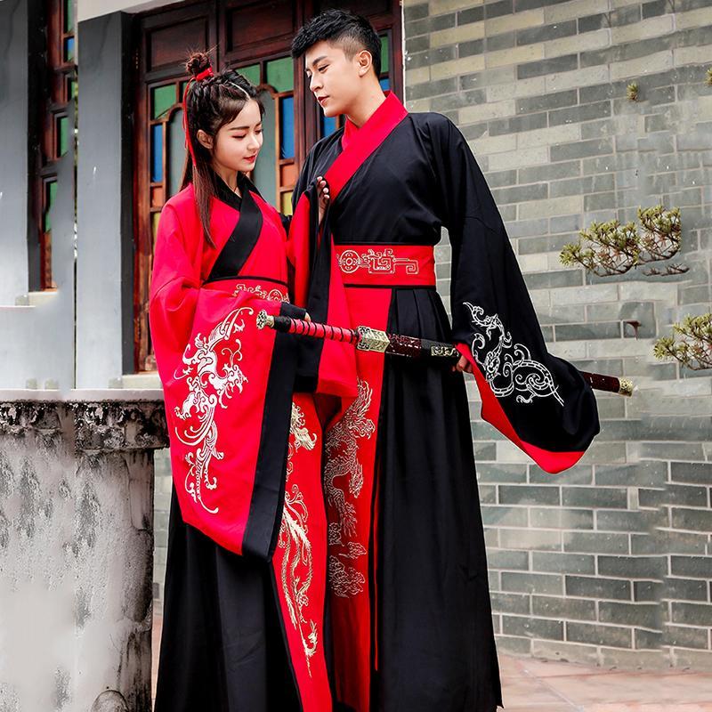 الزي التقليدي رجل سيدة الصين ملابس المرحلة القديمة الزي زوجين الصيني القديم الشتاء هانفو اللباس الأكمام الكبيرة عشاق الأزياء