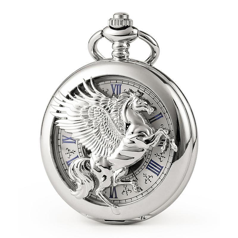 2019 Moda prata Pegasus padrão oco azul numeral romano exibição Mens Mecânica Pocket Watch Men presente Relógio de prata C449