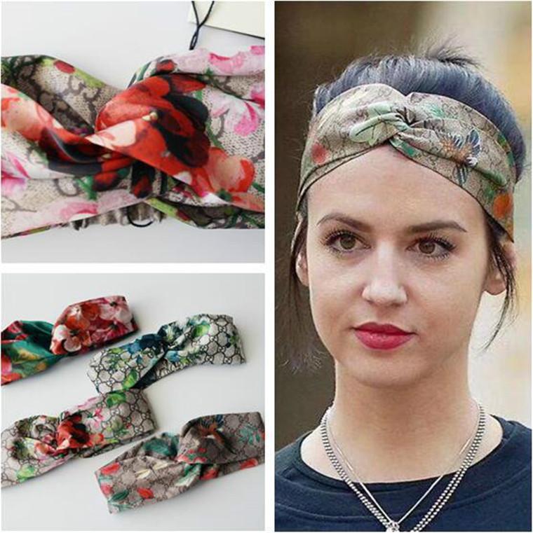 Venda quente de 2020 Silk Carneiras senhoras mulheres Moda Bloom Flower Elastic Pássaro Hairband das senhoras da menina headwraps frete grátis