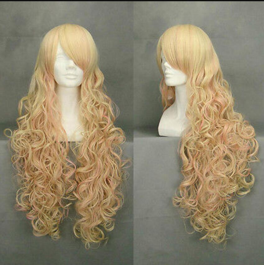 WIG spedizione gratuita X35 lunga parrucca Cosplay Sheryl Nome Macross Frontier Blonde Mix Pink