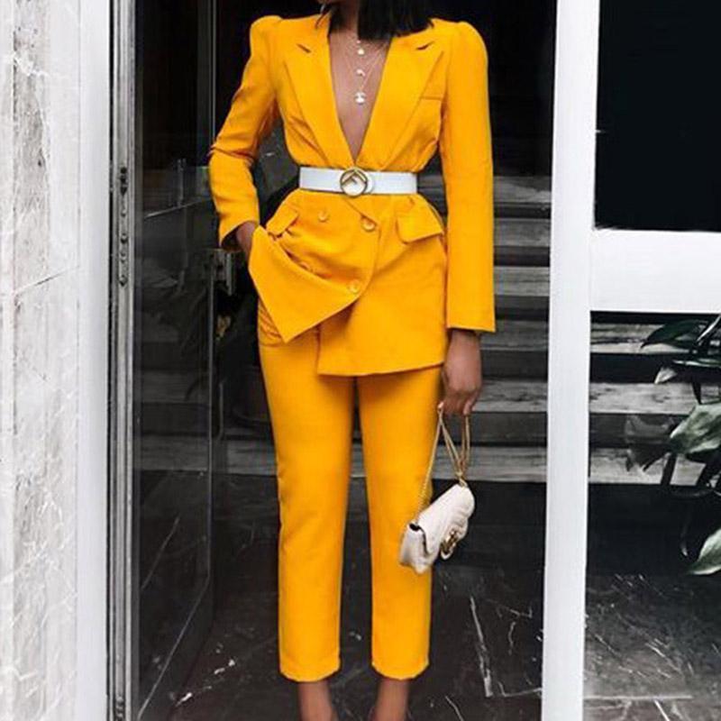 Otoño invierno de la vendimia de las mujeres de las bragas espesar traje rojo con muesca amarillo chaqueta de la chaqueta de las bragas 2020 desgaste de la oficina de las mujeres se adaptan a sistemas femeninos