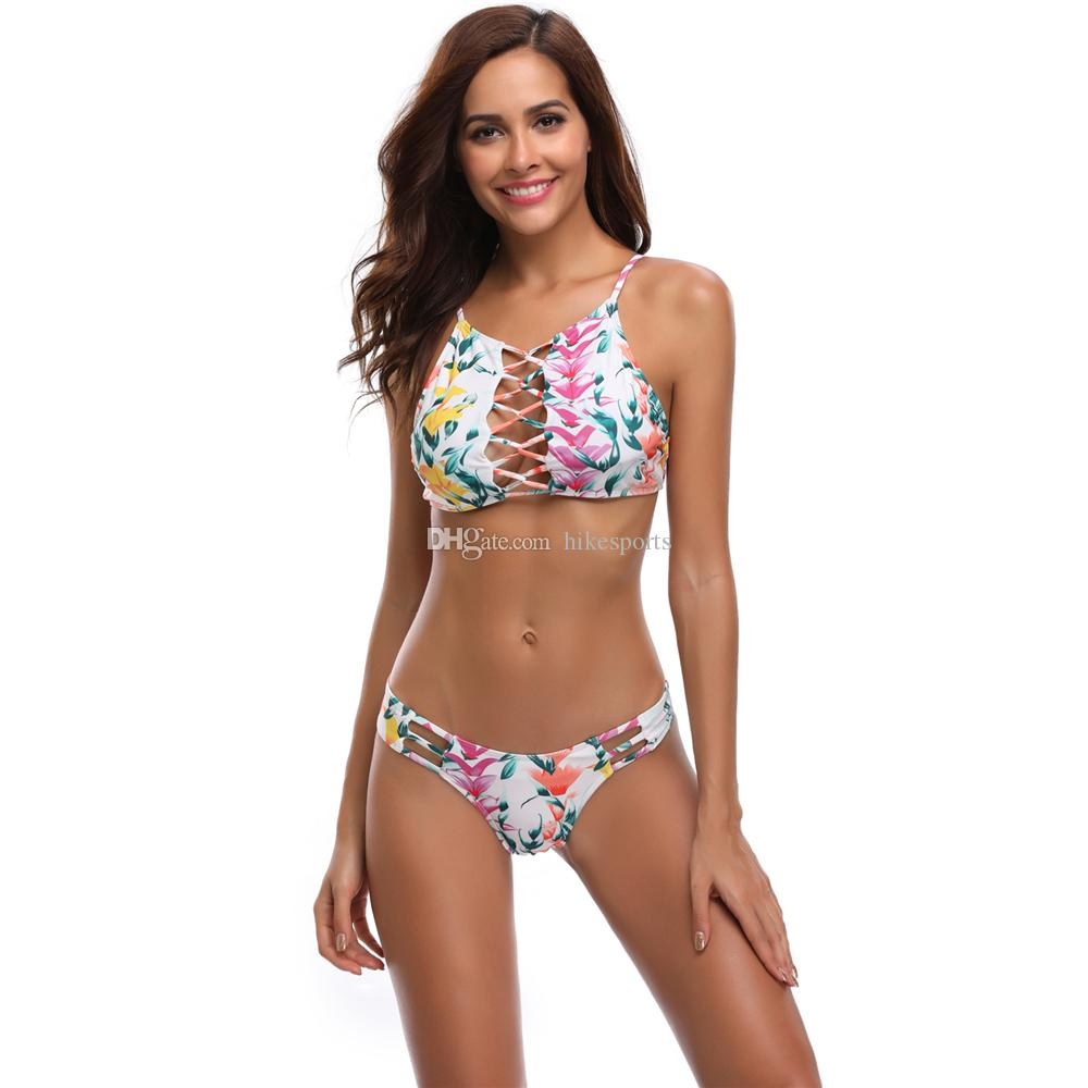 Womens Strappy Hollow Out Floral Print Swimwear Plus Size High Waist Bikini 2 PCS Set