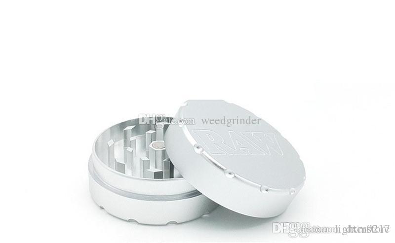 Grinders fumatori RAW Grinders metalliche per Tabacco Partita di vetro a mano Pipa Narghilè 47mm Accessori Strumenti 2 strati di caso