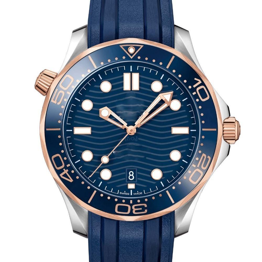 Correa de caucho Reloj de oro rosa Diseñador de acero inoxidable Hombres Relojes de pulsera automáticos de lujo para hombre Buceador profesional 300 M Relojes de la OTAN principales