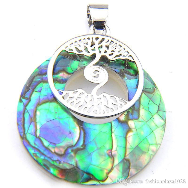 Luckyshine 10 sztuk / partia Gorąca Sprzedaż Klasyczny Abalone Shell Handmade Rainbow Srebrny Naszyjnik Wisiorki Drzewo Życie Wesel Wisiorki Biżuteria Prezent