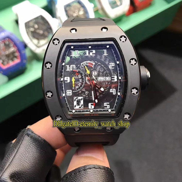 R Top-Version RM 030 KERAMIK Y-TZP Keramik Gehäuse Skeleton Big Date Dial Japan Miyota Automatik RM030 Herrenuhr Gummisport Designer Uhren