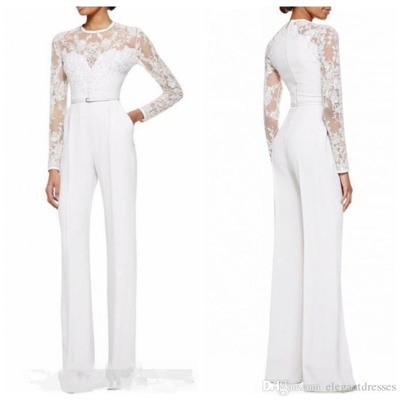 2021 Formal mãe branca personalizada da noiva Pant ternos Jumpsuit mangas compridas Lace apliques Magro Mulheres Traje a Rigor Formal Plus Size