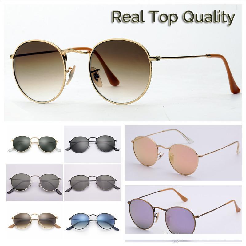 2019 Mujeres de sol hombre gafas de sol gafas de diseño de lujo mens sunglases Lentes de calidad superior redonda modelo de metal UV400 lentes de cristal