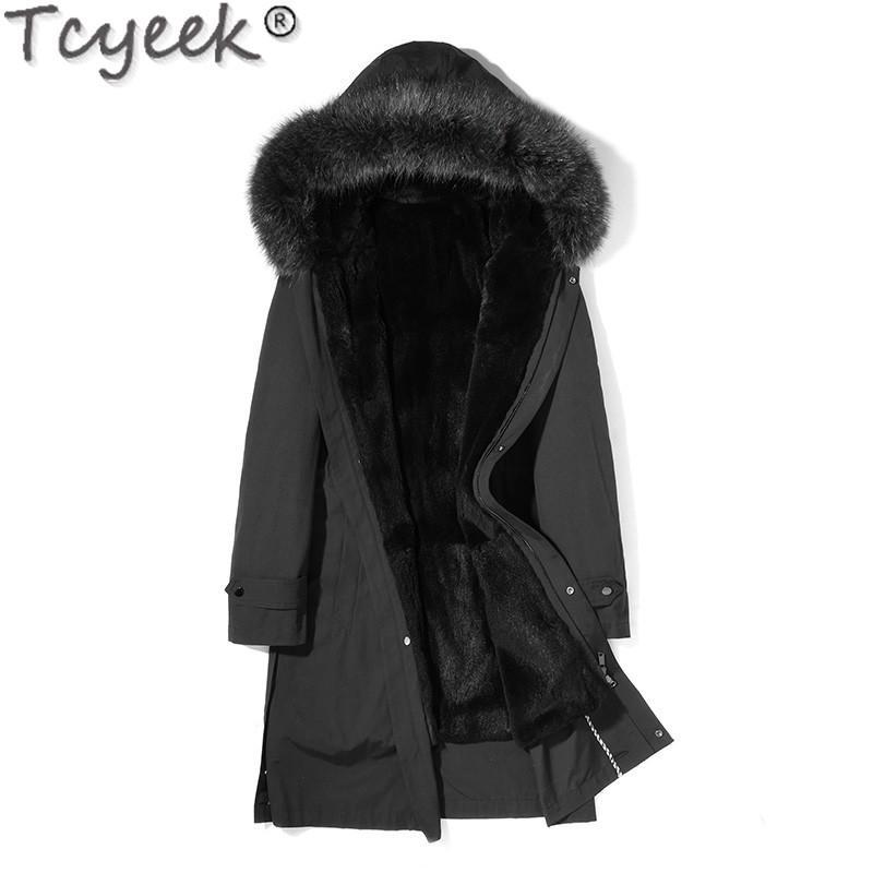 Chaqueta de invierno Piel real Parka de piel Liner largos de la capa masculina del mapache collar Parkas Hombre Invierno MG-1816002 KJ1325