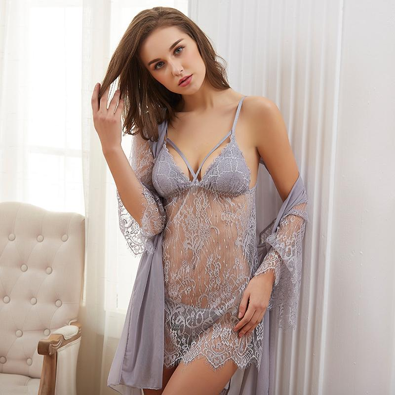 2020 Transparent Lace Robe Gown Sets Strap Pijama Femme Sexy Lingerie Hot Erotic Dress Nuisette Femme De Nuit Women Sleepwear From Beasy114 18 04 Dhgate Com