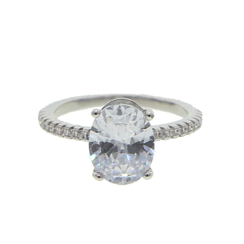 chispas bling de banda de cz brillante ovales de la forma del anillo de bodas cz claro blanco para las mujeres hermosas de la boda del dedo del anillo de la joyería