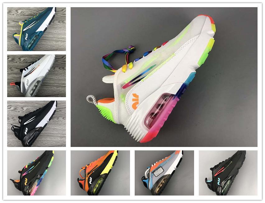 Venta de alta calidad de los zapatos corrientes 2090 hombres mujeres Formadores barato Pure Platinum Pato Camo criado Triple Negro Blanco Aire década de 2090 las zapatillas de deporte Deportes