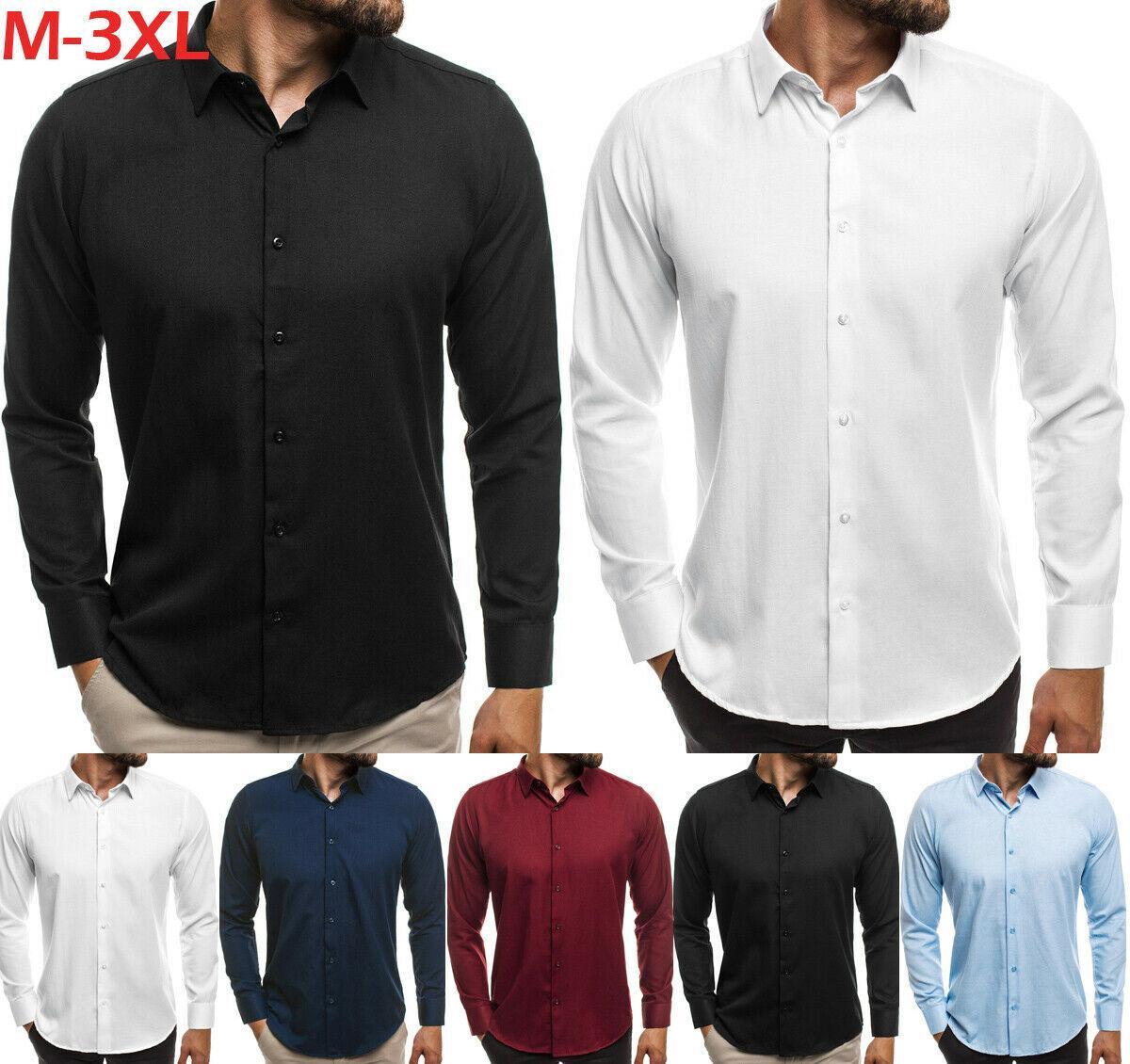 Chegada Nova Mens Slim Fit Negócios camisa de manga longa Fashion Dress camisas casuais masculinos cor sólida Camisas Tops Roupa