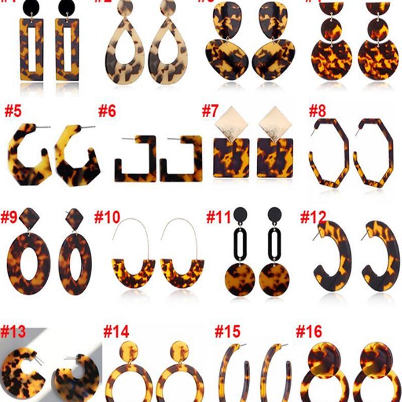 Designer Tortoise Color Leopard Print Acrylic Acetic Acid Sheet Geometric Circle Square Long Drop Earrings Hot Animal Ear Stud CHN42