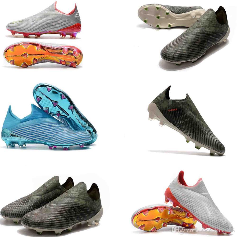 2019 Code de cryptage Messi Football Bottes Laceless X 18 FG Hommes Chaussures de soccer X19 + semelles Pogba placage hommes extérieur Crampons