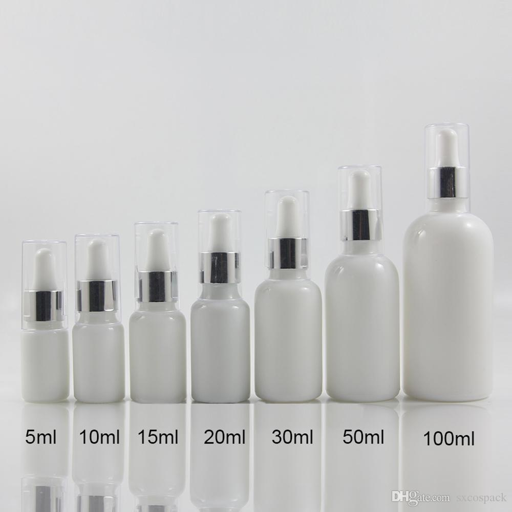 15ml botellas de perfume vacía Opal Blanco / piel transparente de atención, botella de relleno de vidrio con gotero líquido cosmético Contenedores