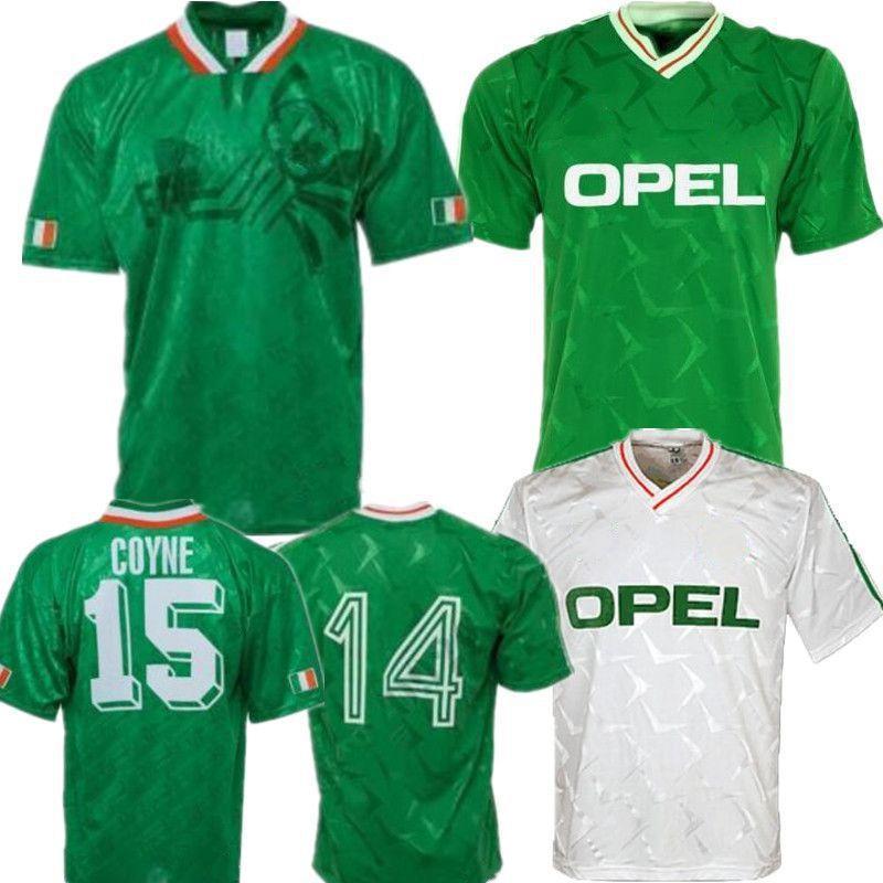 1990 1992 Thailand Irland RETRO Fußball-Trikot Vintage-Fußballhemd Republik Irland Nationalmannschaft Trikots 90 Weltcup-Kit grün weiß