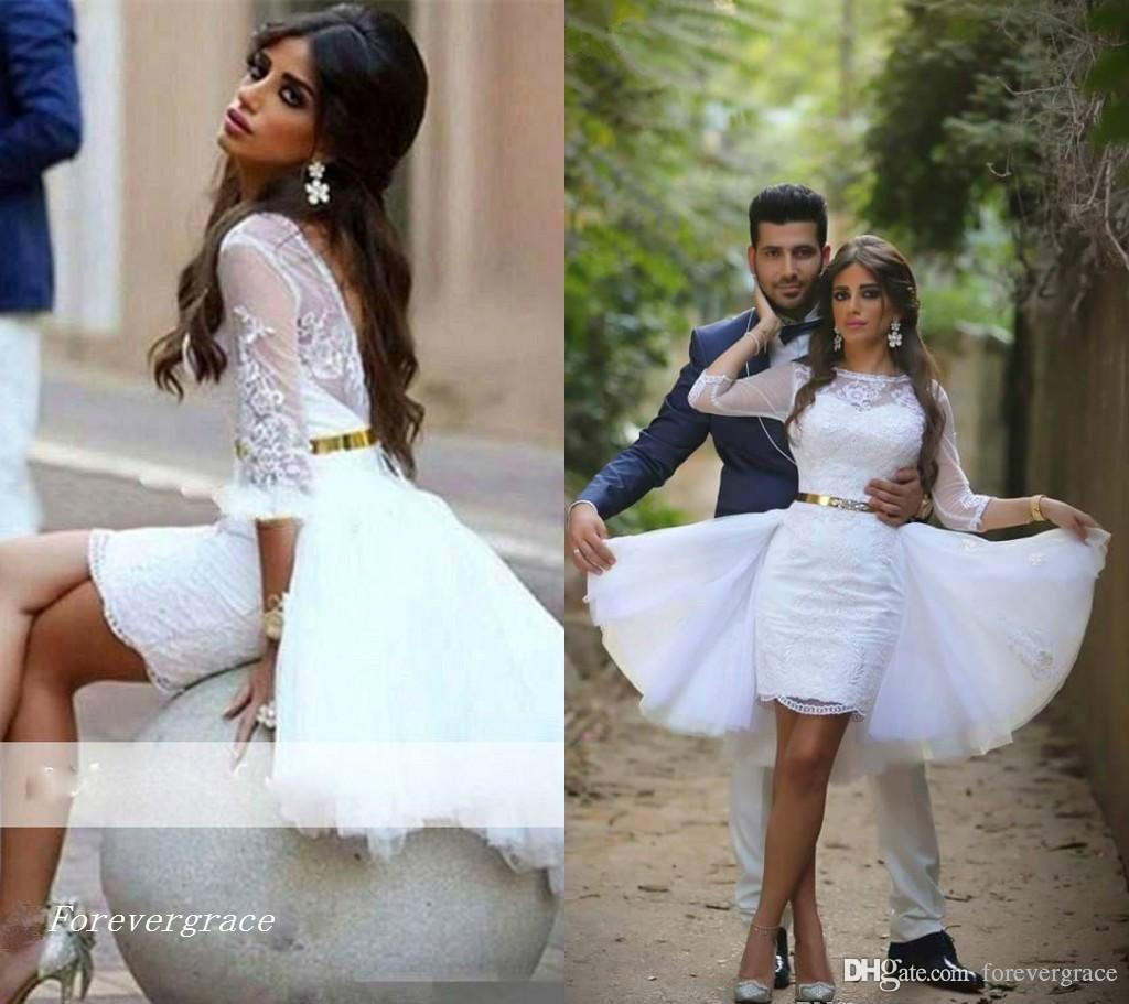2019 Summer Beach Lace Short Sheath Wedding Dress Modern Sheer Jewel Neck Garden Bridal Gown Custom Made Plus Size