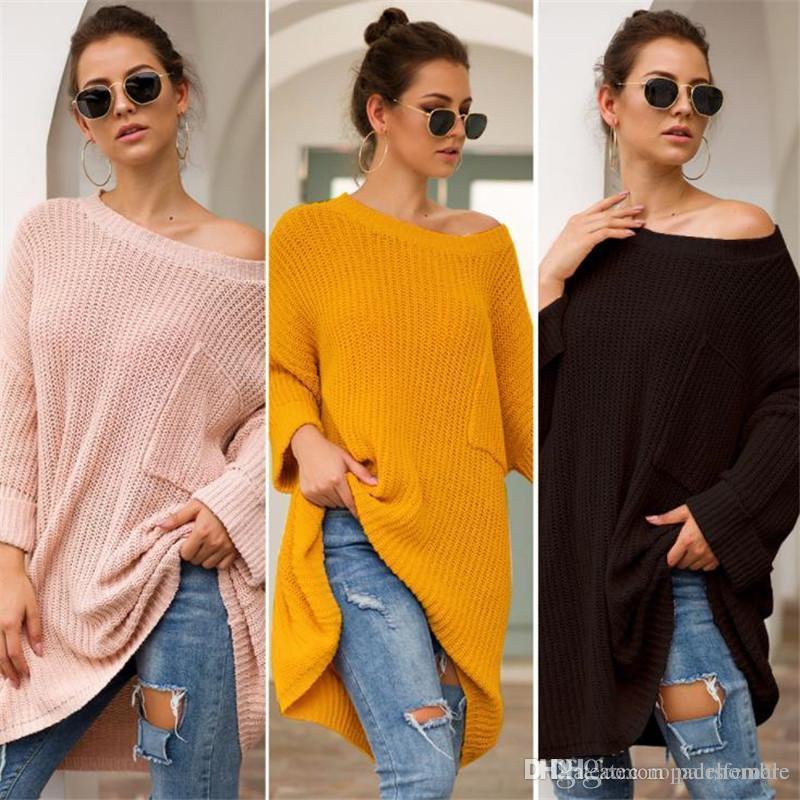 Herbst-Winter-Frauen Designer Pullover Mode-Freizeit-Art Langarm-lose Pullover stricken Frauen-Kleidung