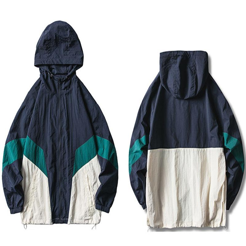 Giacca HTJ 2019 Giacca a vento da uomo Hip Hop Streetwear Giacca retrò Felpa con cappuccio Cappotto sciolto oversize color block Cappotto autunno