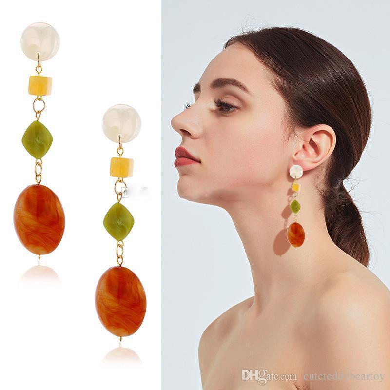 El amor del diseñador de moda East Gate Hit pendientes Geometría Fondo Largo Color Segunda Fuerza Gram Coral Rojo Elipse del pendiente de gota para el oído para las mujeres