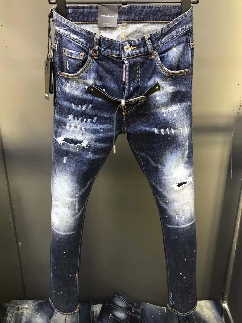 Primavera nuova stazione europea a getto d'inchiostro patch Foro jeans Maschio marea di marca piedi sottili pantaloni elastici mendicante pulsante