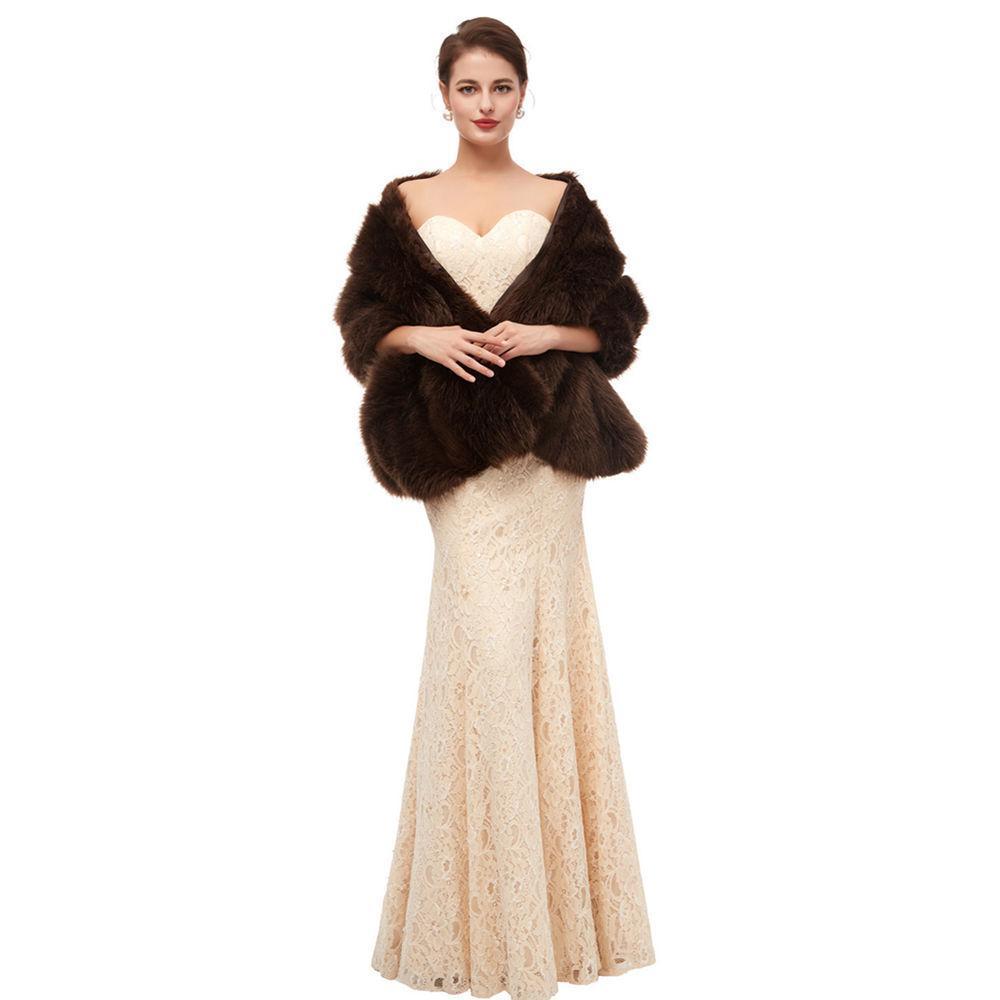 Invierno del multicolor del Cabo 2019 piel de imitación de abrigo de la boda la capa del cabo falso de piel de zorro Mantón nupcial largo del mantón de la Mujer Novias de dama de honor