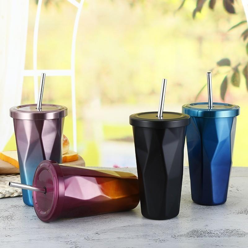 500ml Stainless Steel Hot And Cold Double Wall Drinking Cups Irregular Diamond Tumbler Straw Coffee Mugs With Lid C19041302