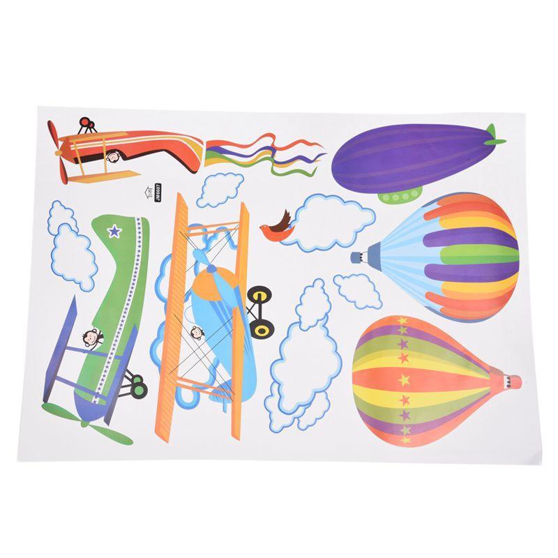 이동식 만화 비행기와 뜨거운 공기 풍선 벽 스티커 보육 아이 방 홈 장식 데칼