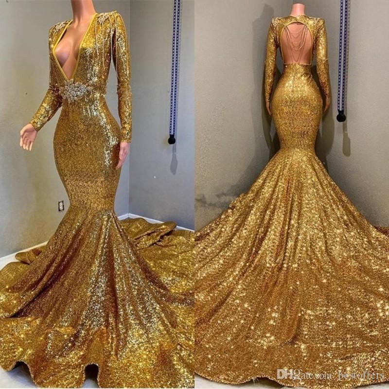 2020 Gouden Mermaid Prom Jurken Diepe V-hals Loge Mouwen Crystal Beaded Avond Party Draag backless Formal Jurken Custom Made