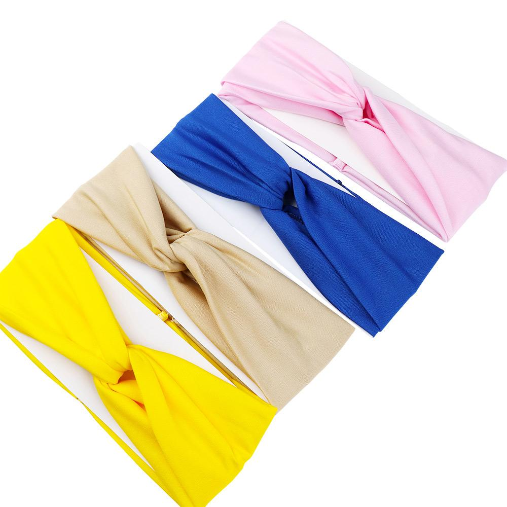 1 Pcs Woman High Elasticity Solid Fashion Clothing Accessories Headbands Simple Stretch Cross Wild Cotton Geometric Hairwear