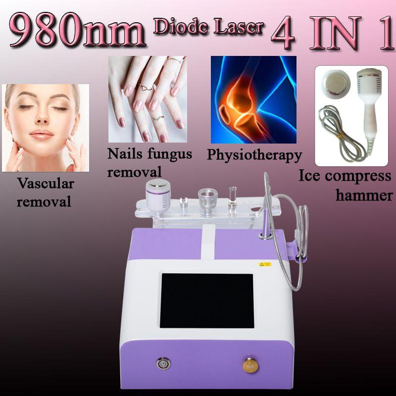 4 IN 1 980nm diodo máquina láser vascular diodo eliminación eliminación clavos equipo de la belleza láser hongo