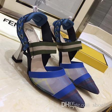 Con la caja de la mejor calidad Zapatillas Sandalias Diapositivas Sandalias de tacón alto Diseñador de zapatos Huaraches Flip Flops mocasines para mujer por shoe06 FD1801